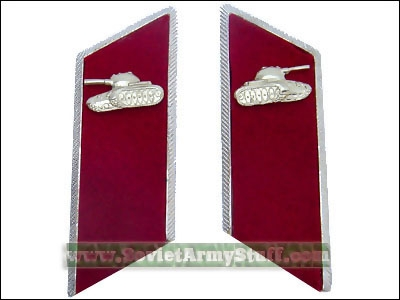 Soviet Army Tank Troops Uniform Collar Tabs Red