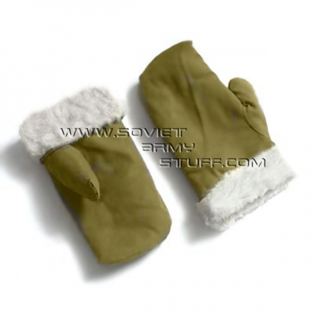 Soviet Army Winter Natural Fur Mittens Gloves Olive WW2