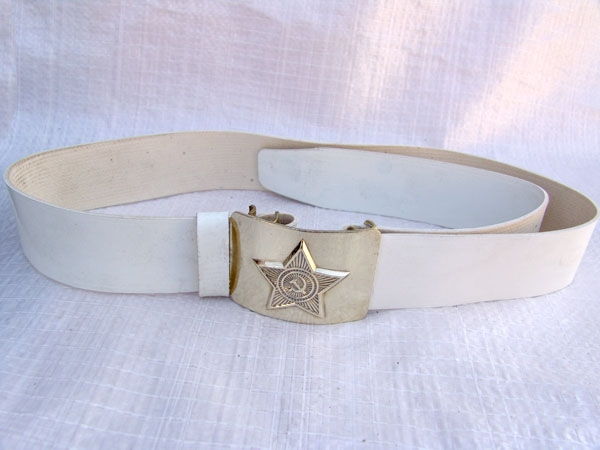 Soviet Army Parade Uniform White Belt with Gold Buckle