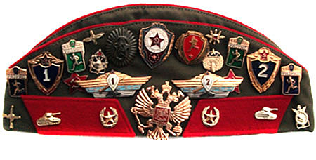 Genuine Soviet Army Officer Uniform Hat Pilotka with badges and patches Military Souvenir