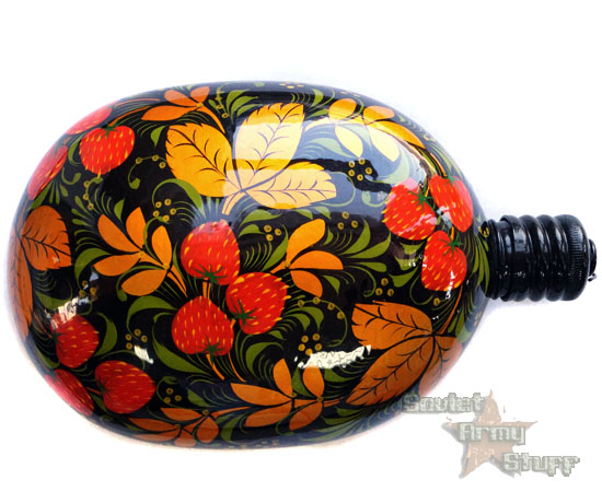 Russian Army Flask Water Bottle Khokhloma Style Hand Painted